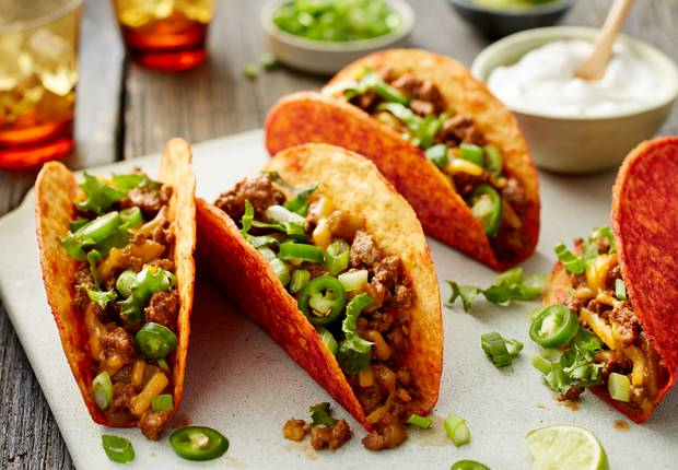 Cheesy Beef and Green Chile Spicy Tacos
