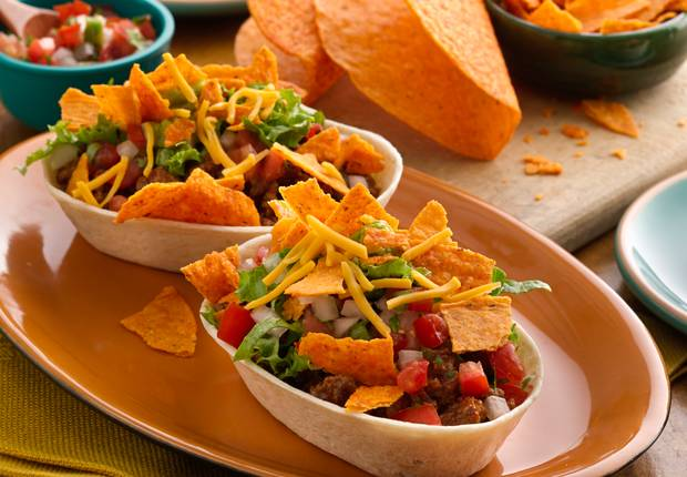 Cheesy Nacho Walking Taco Boats