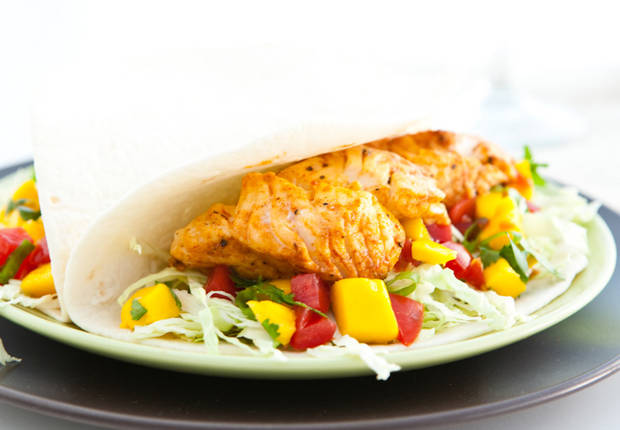 Fish tacos with mango salsa recipe from old el paso for Mango salsa recipe for fish