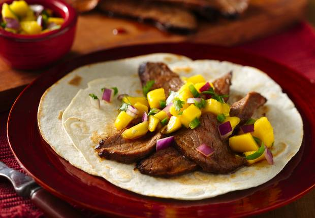 Flank Steak Tacos with Mango Salsa Recipe from Old El Paso