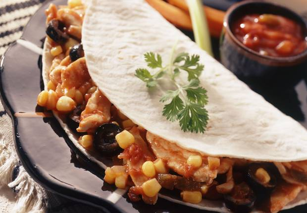 Mexican Style Chicken Filled Tortillas