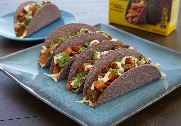 Pork and Sweet Potato Blue Corn Tacos with Chipotle Aioli