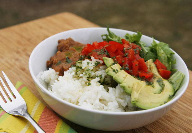 Veggie and Bean Rice Bowls with Cilantro Lime Vinaigrette Recipe